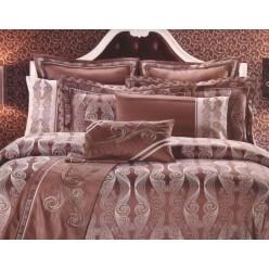 Постельное белье из шелкового жаккарда коричневое с орнаментом