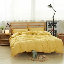 Постельное белье однотонное льняное солнечно желтое