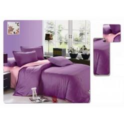 Постельное белье однотонное двустороннее фиолетовое с розовым