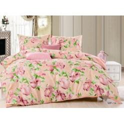 Постельное белье розовое с цветами и листьями