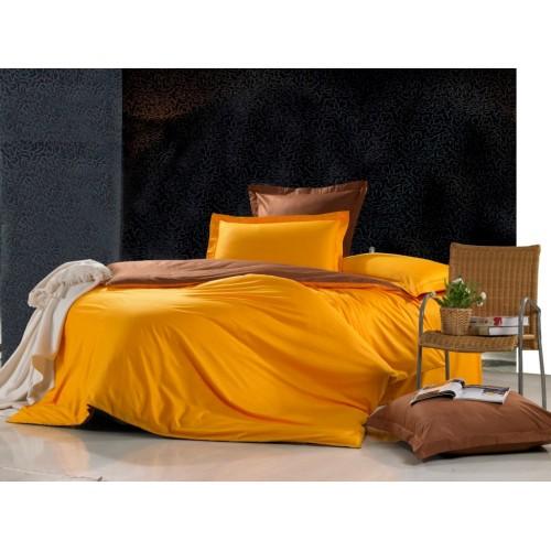 Двустороннее постельное белье сатин желтое с коричневым