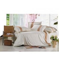 Однотонное постельное белье сатин кремовое с бежевым