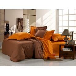 Однотонное постельное белье сатин коричневое с оранжевым