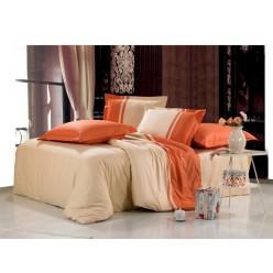 Однотонное постельное белье сатин бежевое с оранжевым