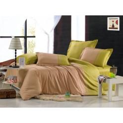Однотонное постельное белье сатин бежевое с салатовым
