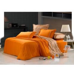 Однотонное постельное белье сатин оранжевое с бежевым