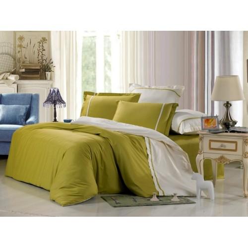 Двустороннее постельное белье сатин оливковое с белым