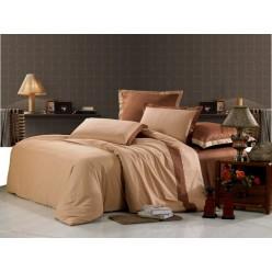 Однотонное постельное белье сатин светло коричневое