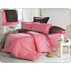 Двустороннее постельное белье сатин розовое с коричневым