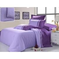 Семейное постельное белье однотонное сиреневое с фиолетовым