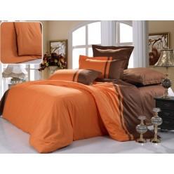 Двустороннее постельное белье сатин оранжевое с коричневым