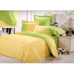 Однотонное постельное белье сатин желтое с салатовым