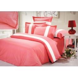 Однотонное постельное белье сатин розовое с белым