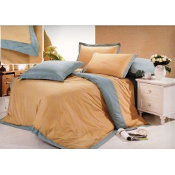 Однотонное постельное белье сатин коричневое с серым