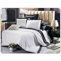 Однотонное постельное белье сатин белое с серым