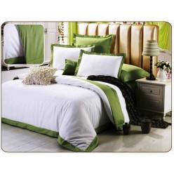 Однотонное постельное белье сатин белое с зеленым