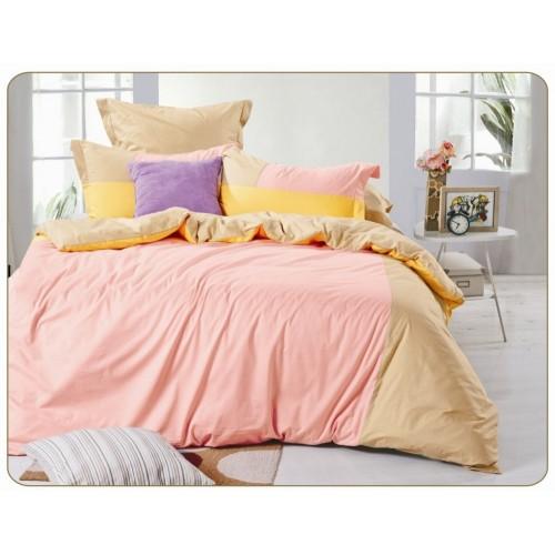 Двустороннее постельное белье сатин розовое с желтым