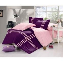 Двустороннее постельное белье сатин фиолетовое с розовым