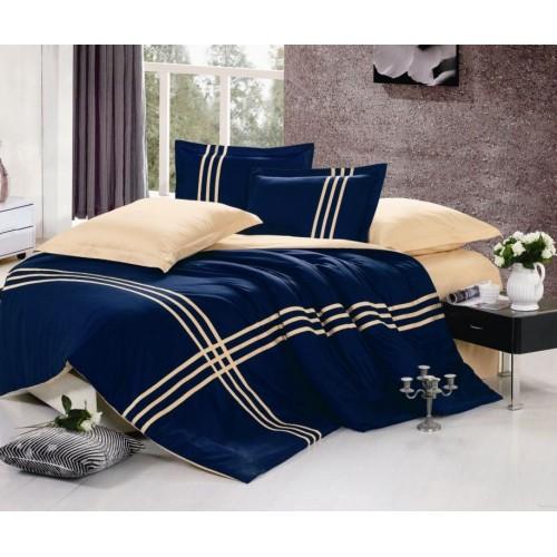 Двустороннее постельное белье сатин синее с бежевым