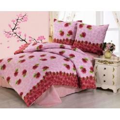 Постельное белье хлопковое, поплин, розовое с красными розами