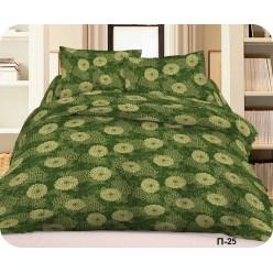 Постельное белье хлопковое, поплин, зеленое с светло-зелеными цветами