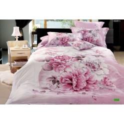 Постельное белье 3D премиум сатин розовое с цветами