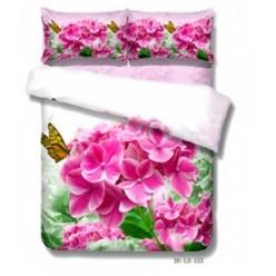Постельное белье двустороннее сатиновое 3D белое с яркими полевыми цветами