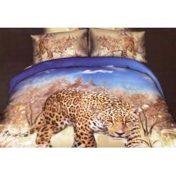 Постельное белье двустороннее сатиновое 3D бежевое Леопард