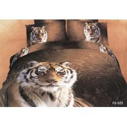 Постельное белье двустороннее сатиновое 3D коричневое с тигрой
