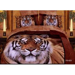 Постельное белье двустороннее сатиновое 3d коричневое Тигр