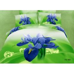 Постельное белье 3D премиум сатин ярко зеленое с синими цветами