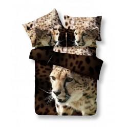 Постельное белье двустороннее сатиновое 3D коричневое Леопард