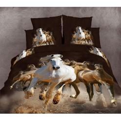 Постельное белье двустороннее сатиновое 3D коричневое Лошади