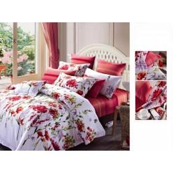 Постельное белье премиум сатин шелковое белое с красными цветами