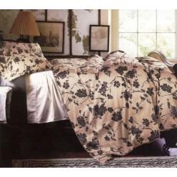 Постельное белье премиум сатин шелковое бежевое с коричневыми цветами