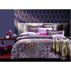 Постельное белье премиум шелковый сатин фиолетовое с цветами