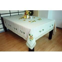 Скатерть кухонная прямоугольная лен кремовая с вышивкой и цветами