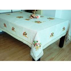 Скатерть кухонная прямоугольная лен кремовая с вышивкой