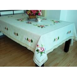 Скатерть кухонная прямоугольная льняная серая с вышивкой
