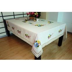 Скатерть кухонная прямоугольная лен бежевая с вышивкой и яркими цветами