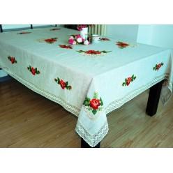 Скатерть кухонная прямоугольная льняная кремовая с вышивкой из красных цветов