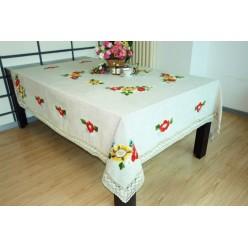 Скатерть кухонная прямоугольная льняная кремовая с вышивкой