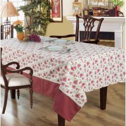 Скатерть кухонная прямоугольная кремовая с розовыми цветами